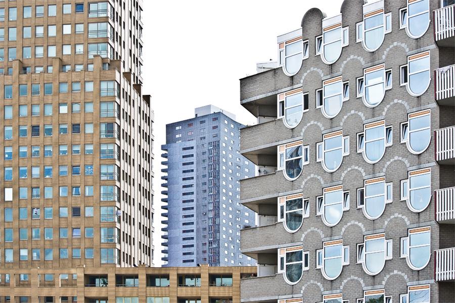 Gebäudefassaden in Rotterdam